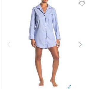 Notch Collar Long Sleeve Shirt Night Shirt.